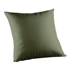 Patch Quilts - Green Hunter and Tan Check Fabric Toss Pillow 16 x 16 Inch - Home spun  yarn dyed fabric throw pillow  - complements with Patch Magic brand quilted line  - Machine washable  Line or Flat dry only Patch Quilts - TPW140A