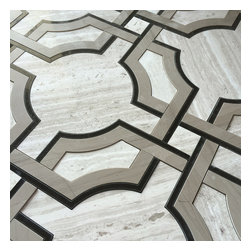 Stone & Co - Art Deco Water Jet Mosaic Timber White Marble Athens Gray Marble and Nero Marble - Art deco water jet mosaic timber white marble athens gray marble and nero marble
