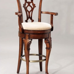"""Powell - Jamestown Landing 31"""" Swivel Arm Bar Stool - Made of solid birch, this arm bar stool gets its inspiration from Queen Anne and Chippendale designs interpreted by American Colonial craftsmen. Along with a swivel mechanism, it features cabriole front legs with C scroll carving, Chippendale rear legs, a tattered shell back splat, cyma curved scroll arms, and an upholstered seat. Finished in a lightly distressed deep cherry. Some assembly required. Features: -Seat height: 31"""" .-Finished in a lightly distressed deep cherry .-Upholstered in beige chenille fabric: 55% cotton and 45"""" polyester .-Cabriole front legs with C scroll carving .-Plain tapered Chippendale rear legs .-Artificially aged to produce an antique appearance .-Carved, pierced tattered shell back splat .-Cyma curved scroll arms .-Memory self returning swivel mechanism .-Antique brass finished foot rail .-Some assembly required .-Suited for Residential Use Only .-1 year warranty against material/workmanship/manufacturing defects .-Dimensions: 47.25"""" H x 25"""" W x 20.5"""" D .-Suited for Residential use only ."""