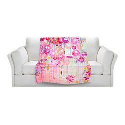 DiaNoche Designs - Fleece Throw Blanket by Julia Di Sano - Atomic Pink Dreams - Original Artwork printed to an ultra soft fleece Blanket for a unique look and feel of your living room couch or bedroom space.  DiaNoche Designs uses images from artists all over the world to create Illuminated art, Canvas Art, Sheets, Pillows, Duvets, Blankets and many other items that you can print to.  Every purchase supports an artist!