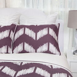 Crane & Canopy - Addison Purple SIGNATURE Duvet Cover - King/Cal King - A unique perspective on the chevron pattern. A rich plum purple bedding set. Up close, the Addison chevron bedding is an artistic expression of femininity and art with its sketched herringbone pattern. From afar, the purple chevrons are sophisticated and distinct