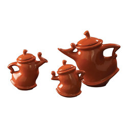 Howard Elliott - Russet Whimsical Tea Pots (Set of 3) - This set of 3 ceramic teapots' whimsical shapes will dance across your table. They are finished in a rich russet orange brown glaze. Russet Orange Brown Glaze. 6 in. H x 6 in. W / 7 in. H x 7 in. W / 10 in. H x 11 in. W