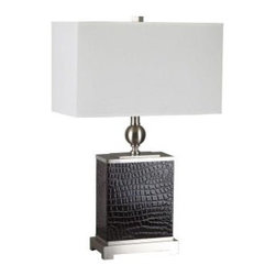 """ORE International - Bedside Lamp: 25 in. Dark Espresso Color Table Lamp 31123LBR - Shop for Lighting & Fans at The Home Depot. This artistic table lamp is sure to add an impressive feel to your room. The item has a dark espresso color and the base is constructed of metal with a brushed nickel finish and has a dark espresso """"PU"""" wrapping that resembles animal skin. It has an off-white linen shade with vinyl lining for added durability size: 15 in. x 9 in. x 9 in."""
