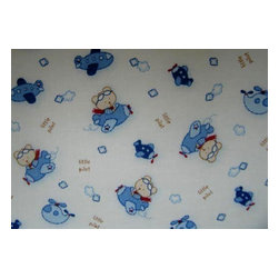 "SheetWorld - SheetWorld Fitted Crib / Toddler Sheet - Little Pilot - Made in USA - This luxurious 100% cotton ""woven"" crib / toddler sheet features the cutest Little Pilot print. Our sheets are made of the highest quality fabric that's measured at a 280 tc. That means these sheets are soft and durable. Sheets are made with deep pockets and are elasticized around the entire edge which prevents it from slipping off the mattress, thereby keeping your baby safe. These sheets are so durable that they will last all through your baby's growing years. We're called SheetWorld because we produce the highest grade sheets on the market today. Size: 28 x 52."