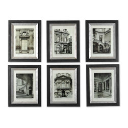 Uttermost - Uttermost Paris Scene I Decorative Wall Art in Champagne - Shown in picture: Black Frame With Champagne Glazed Inner Lip These monotone prints are accented by a satin black frame. The frame�۪s inner lip has a glazed champagne finish.