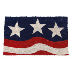 None - Stars and Stripes Non-slip Coconut Fiber Doormat - This beautifully designed doormat will enhance your entry way or patio. The hand-stenciled doormat is made with fade-resistant dyes and dirt-trapping natural coconut fibers, and features a non-slip backing.