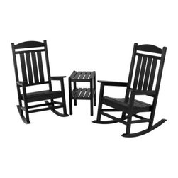 POLYWOOD® Presidential 3-Piece Rocker Set - Perfect for the contemporary or country home, the POLYWOOD Presidential 3-Piece Rocker Set is soon to be the most coveted spot in the house. Expertly crafted of weather-proof synthetic lumber, this set of two rockers and complementary table features the charming look and feel of painted wood, without the hassle or necessary maintenance. Designed for durability, this set won't chip, crack, or splinter and will weather the elements with long-lasting strength. An eco-friendly product, this set is crafted of 90% recycled materials and can simply be wiped clean or hosed off. Made in the USA.About Poly-WoodThe advantages of Poly-Wood Recycled Plastic are hard to ignore. Poly-Wood absorbs no moisture and will NOT rot, warp, crack, splinter, or support bacterial growth. Poly-Wood is also compounded with permanent UV-stabilized colors, which eliminates the need for painting, staining, waterproofing, stripping, and resurfacing. This material is impervious to many substances, including salt water, gasoline, paint, stains, and mineral spirits. In addition, every Poly-Wood product comes with stainless steel hardware.Poly-Wood is extremely easy to clean and maintain. Simple soap and water is all you need to get rid of dirt and make your furniture look new again. For extreme cleaning needs, you can use a 1/3 bleach and water solution. Most Poly-Wood furnishings are available in a variety of classic colors, which allow you to choose your favorite or coordinate with the furniture you already have. This is sure to be a piece that you will be proud to own for a lifetime.