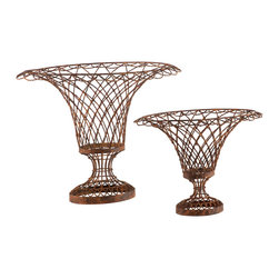 Kathy Kuo Home - Set of 2 Wire Frame French Country Oval Vase Baskets - Inspired by the great gardens of France, the French Wire collection is hand bent, twisted and assembled by welding every individual joint and hand tying depending on the style. Each piece is then powder coated for durability and hand finished lending to the aged feel.