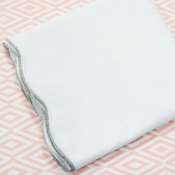 Oliver B - Dove Grey and Pink 2-Piece Crib Bedding Sets - Create a stunning space with Oliver B's Dove Grey and Pink crib bedding set.  Includes a diamond crib sheet in pink and white, and scallop flat panel crib skirt in white with dove grey trim.