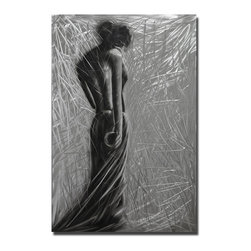 Pure Art - Modern Venus in Silver - This dramatic artwork has the mysterious feeling of the classic Venus d'Milo, with the turned head and shoulders of the woman featured in the foreground.  She displays a curvaceous back and torso. She appears to be assaulted by wind or blinding light in this energetic piece that is full of drama, sensuousness and anonymityMade with top grade aluminum material and handcrafted with the use of special colors, it is a very appealing piece that sticks out with its genuine glow. Easy to hang and clean.