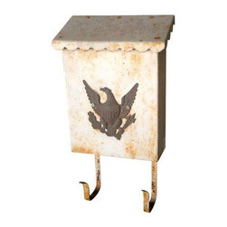 "Used Vintage Metal Mailbox with American Eagle - Here's to all of those who still believe that a handwritten letter is worth so much more than an electronic note. We love the American eagle on the front!    Additional dimensions: Mailbox usable space 9""."