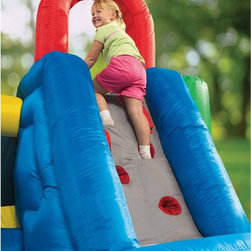 Little Tikes - Little Tikes Jump & Double Slide Bouncer - 632891C - Shop for Outdoor from Hayneedle.com! It's not quite the gauntlet but the Little Tikes Jump & Double Slide Bouncer will thrill and challenge your kids as they race through this fun and challenging course. The huge climbing wall brings them up to a four-foot slide that drops them in the middle of a large enclosed bounce area. And the two-foot slide at the other end ushers them safely and excitedly back out again. While jumping in the central arena high mesh-net walls help keep them safe from accidentally falling off the bouncing surface. The whole time they're playing they'll be building positive physical fitness and burning off that extra energy all kids have. Whether this toy is brought out on special occasions or set up on any old day it will help your child create memories that will last a lifetime.The Jump & Double Slide Bouncer also comes with a heavy duty blower and GFCI plug that makes setting it up and keeping it safely inflated easy. Also included are securing stakes to keep the inflatable and blower in place and a repair kit and storage bag to keep everything well maintained when not in use. This toy is for outdoor use only and maximum weight limit should not exceed 250 pounds.About Little TikesFounded in 1970 the Little Tikes Company is a multi-national manufacturer and marketer of high-quality innovative children's products. They manufacture a wide variety of product categories for young children including infant toys popular sports play trucks ride-on toys sandboxes activity gyms and climbers slides pre-school development role-play toys creative arts and juvenile furniture. Their products are known for providing durable imaginative and active fun.In November of 2006 Little Tikes became a part of MGA Entertainment. MGA Entertainment is a leader in the revolution of family entertainment. Little Tikes services the United States from its headquarters and manufacturing facility in Hudson Ohio