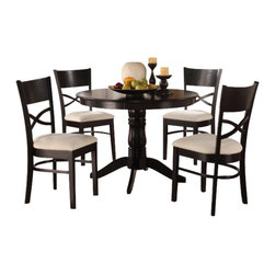 Home Elegance - Country Style Black Finish Round Table And Chairs With Beige Cushion Seating - Traditional country styling is scaled for your cozy dining space in the Clancy Collection. Beige fabric seats provide contrast to the chairs and round top pedestal table, which are finished in a warm black tone lending to the classic look of the group.