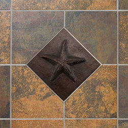 "4"" Solid Bronze Wall Tile with Sea Star Design - Bronze Patina - Perfect as an accent piece or to create a border or pattern, this solid bronze wall tile will coordinate well with a seaside home or guest bath. This wall tile features a playful starfish design with a warm, Bronze Patina finish."