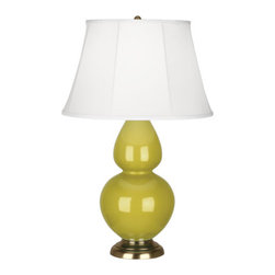 Robert Abbey - Robert Abbey Large Double Gourd Ivory Stretched Table Lamp with Brass Base CI20 - Citron Glazed Ceramic
