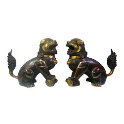 Chinese Handmade Metal Golden Gilt Color Fu Dog Statue - This is a pair of traditional Chinese Fu Dog statue made from metal and gilted with brownish , light metal and golden color for the edge motif and body. They are decorative worship pieces with its precise detail and vintage finish.