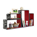 Blancho Bedding - [Silver & Red Zebra] Rectangle Leather Bookshelf / Floating Shelf (Set of 4) - These rounded corner wall cube shelves add a new and refreshing element to your room and can be easily combined with other pieces to create a customized wall space. Coming in various colors and sizes, they spice up your home's decor, add versatility, and create a whole new range of storage spaces. You can hang them on the wall, or have them stand on table or floor, any way you like. Fashion forward design has never been so functional. This range of faux leather storage cubes is sure to delight! Perfect for wall mounting, these modern display floating shelves are sure to delight. Constructed from MDF with a top faux leather wrapping. Easy to mount, easy to love! Attractive shelf boxes give any wall in your home a striking appearance. Arrange in whatever fashion you like - whether it be grouped together or displayed separately. Each box serves as a practical shelf, as well as a great wall decoration.