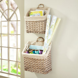 Willow Magazine Baskets - What a great place to stash the mail until you can get to it. The two baskets are woven willow and lined in linen.