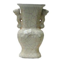 Golden Lotus - Chinese Light Green Celadon Crackle Ceramic Vase - It is a hand made oriental style ceramic vase in light celadon green color with crackle pattern.