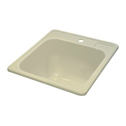 """Lyons Industries - Laundry Tub, 20""""L x 25""""W with Extra 12"""" Deep Sink, Acrylic Self-Rimming, Biscuit - Lyons Industries Biscuit Self-rimming acrylic Laundry Sink with molded soap dish. This 20"""" x 25"""" sink has a functional design, with a 12"""" deep bowl and two faucet holes on 4"""" centers. This sturdy sink has durable easy to clean high gloss acrylic construction with a fiberglass reinforced insulation backer. This sink is quiet and provides a superior heat retention than other sink materials. Lyons sinks are proudly Made in America by experienced artisans supporting our economy."""