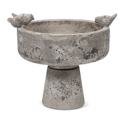 """IMAX - Milthorpe Birdbath - This cement birdbath features adorable bird shaped accents and a modern shape that looks great anywhere. Item Dimensions: (12""""h x 12""""w x 12"""")"""