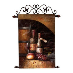 Manual - Special Reserve Wine Themed Handpainted Canvas Wall Art 29.5 In. x 4 - This hand-painted canvas wall hanging features metal rods on top and bottom. The top piece is used to hang on your wall, the bottom acts as a weight to keep the canvas taut. It measures 29 1/2 inches wide, 42 inches long, and features a design of a field of vintage wine bottles, bread and grapes in a wine cellar. It makes a great gift.