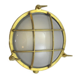Shiplights - Round Cage Light (Solid Brass, Interior / Exterior by Shiplights), Unlacquered - (Pictured with Frosted Glass)