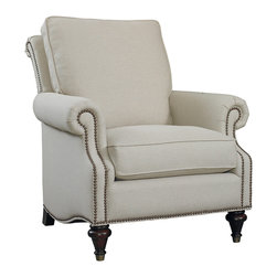Oxford Accent Chair - Classically elegant with panel arm, semi-attached pub back, and brass tipped turned feet
