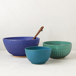 Hand-Thrown Mixing Bowl, Blue Motif - These bowls are almost too pretty to use — almost. The colors, the ridged design, the rustic shapes — they make me swoon.