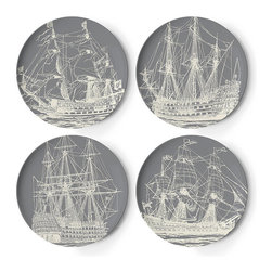 Frontgate - Set of Four Scrimshaw Dinner Plates - Melamine is shatterproof and ideal for outdoor entertaining. Dishwasher safe. Do not use in the microwave, or place on direct heat. Not recommended for use with sharp knives. Our Scrimshaw Melamine Dinnerware by thomaspaul takes casual tableware in a new direction. A fun mix of nautical designs, this durable collection is perfect for an alfresco party, and stylish enough to use indoors as well.. . . .