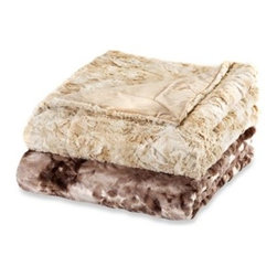Ellery Holdings Llc - Iris Faux-Fur Oversized Reversible Throws - Experience the exceptional warmth and silky hand of this oversized reversible throw blanket. The unique, high plush faux fur features an embossed floral pattern with a unique tie dye printed background.