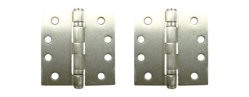 """4"""" X 4"""" Square Satin Nickel Commercial Ball Bearing Hinges - NRP - - 4 inch x 4 inch square Satin Nickel Commercial Ball Bearing Hinges - NRP"""