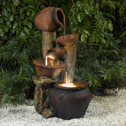 "Jeco - Pentole Pot Outdoor/Indoor Fountain with Illumination - ""The Pentole Pot Water Fountain with lights is an ideal blend of contemporary design & old-world sculpture. With its rustic charm, this water fountain will be the center of attention wherever you place it. This stunning piece will can be suitable for any setting, whether in a patio, balcony, home or backyard. The Pentole offers an instant sense of relaxation with its soothing trickling sounds."