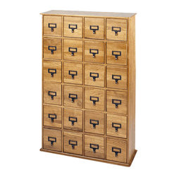 Leslie Dame - Leslie Dame 24-Drawer CD Media Storage Cabinet in Oak - Leslie Dame - CD & DVD Media Storage - CD456 - This solid oak classic library style media storage cabinet is the ideal place to store and organize all those CDs you've been collecting over the years. It features a rich hand-rubbed finish and vintage style drawer pulls. This stylish media cabinet will complement both traditional and contemporary home decor.