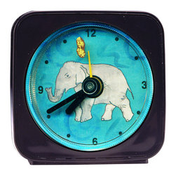 "Elephant Alarm Clock - The second hand on our Elephant Alarm Clock, is a peanut which rotates around the elephant as it counts the seconds. Each 2.25"" Square alarm clock comes in a gift box and includes a free battery. Made in the USA. (Be sure to look for our Elephant wall clock and Jungle magnets, too!)"
