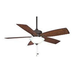 """Fanimation - Fanimation Cancun 52"""" Transitional Ceiling Fan with Light kit X-BO1108PF - The cooling breezes and tropical look of The Cancun create the relaxing environment of a beach vacation in any room. Unlike most beach vacations, however, the affordably priced Cancun will not stretch your budget. The Cancun is also an environmentally friendly fan that has earned the Energy Star rating and features antique finish woven bamboo blades. The Cancun is available in oil-rubbed bronze finish, accommodates a ceiling slope up to 30 degrees and operates on three forward and reverse speeds. As if being cost saving, energy efficient and tropically inspired weren't enough, The Cancun also features exceptional engineering and operates in both dry, damp locations or wet locations"""