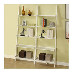 None - White Five-tier 2-piece Leaning Ladder Shelf Set - Style meets functionality with this modern shelf set. Featuring a total of ten tiers, this two-piece set can be placed apart or together to achieve maximum storage. The solid wood and MDF construction promises quality and reliable durability.