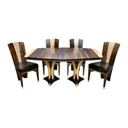"""Contempoary Art DP Dining set - Size shown is 45"""" x 68"""", available with one 16"""" leaf opening to 84"""" or two leaves opening to 100"""" or custom sizes. Shown in Solid Walnut and Birdseye Maple Other woods available."""