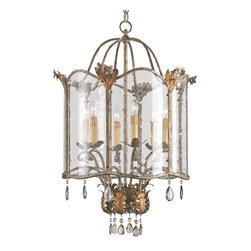 Currey & Company - Zara Large Pendant - An unusual historical design from the Winterthur Museum?s Archive Collection is made outstanding with its opulent finish of Viejo Gold and Silver, smoked crystals and its seeded glass panels. This pendant is a large scale version of this design.