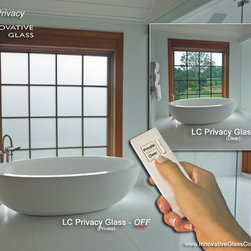 Instant LC Privacy Glass - One of the most common applications for LC Privacy Glass is in bathrooms and wet environments, where blinds & shades tend to get damp, dirty and need to be maintained. By incorporating eGlass into the windows, homeowners can feel fully secure and private in their bathroom.