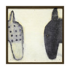 Kathy Kuo Home - Two Horses Black White Vintage Hand Painted Wall Art - A horse is a horse, of course, unless it's this pair of equine beauties. These folk art horses look childlike and graphic in black and white, and are hand-framed with reclaimed wood for extra vintage appeal.