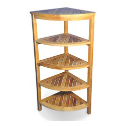 "Goldenteak - Solid Teak Corner Shelf 5 Tier - Solid Teak Corner shelf with 5 shelves. 9.75"" clearance between shelves. Quarter Round of 19.75"" diameter (50 cm). Could be used in bath or other settings. Provided unfinished. Minor Assembly required."