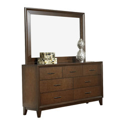 Homelegance - Homelegance Oliver 7-Drawer Dresser with Mirror in Warm Brown Cherry - Simplicity will never mean boring with the Oliver collection. Designed with an eye for clean contemporary lines and pulling in warmth from warm brown cherry finish, this bedroom offering will be the perfect addition to your home. The raised panel, horizontal slat headboard serves as a focal point while the graphite finished hardware provides an elegant contrast to the collection.