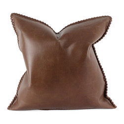 "Pfeifer Studio - Leather Whipstitch Pillow, 20""x20"" - Combining the sophistication of an ""old boys"" club with the appeal of urban living and the ruggedness of the dry desert plains, the Leather Whipstitch Pillow invites you to a smoking room on Park Avenue, a spacious Parisian loft or the New Mexico desert. Each closes with a hidden garment zipper and is fitted with a medium-fill feather and down inner. Our pillows are each individually handmade-to-order using natural materials, each is considered unique and one-of-a-kind."