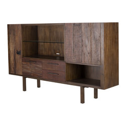Marco Polo Imports - Parker Steven Media Cabinet - This elegant console combines the rustic charm of natural wood with contemporary designs, giving new life to salvaged wood.