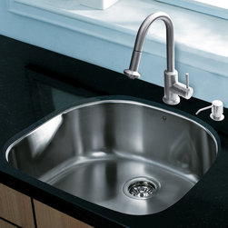 """Vigo - All in One 24"""" Undermount Stainless Steel Kitchen Sink and Faucet Set - Revitalize the look of your kitchen with a VIGO All in One Kitchen Set featuring a 24"""" Undermount kitchen sink, faucet, soap dispenser, matching bottom grid, and sink strainer.; The VG2421 single bowl sink is manufactured with 18 gauge premium 304 Series stainless steel construction with commercial grade premium satin finish; Fully undercoated and padded with a unique multi layer sound eliminating technology, which also prevents condensation.; All VIGO kitchen sinks are warranted against rust; Exterior dimensions: 23 1/2""""W x 21""""D; Interior dimensions: 21 1/2""""W x 19""""D; Depth: 9""""; Required interior cabinet space: 26""""; Kitchen sink is cUPC and NSF-61 certified by IAPMO; All mounting hardware and cutout template provided for 1/8"""" reveal or flush installation; The VG02012ST kitchen faucet features a dual function pull-out spray head for aerated flow or powerful spray, and is made of solid brass with a stainless steel finish; Includes a spray face that resists mineral buildup and is easy-to-clean; High-quality ceramic disc cartridge; Retractable 360-degree swivel spout expandable up to 30""""; Single lever water and temperature control; All mounting hardware and hot/cold waterlines are included; Water pressure tested for industry standard, 2.2 GPM Flow Rate; Standard US plumbing 3/8"""" connections; Faucet height: 16 3/4""""; Spout reach: 8 7/8""""; Kitchen faucet is cUPC, NSF-61, and AB1953 certified by IAPMO; Faucet is ADA Compliant; 2-hole installation with soap dispenser; VGSD001ST soap dispenser is constructed of solid brass with a stainless steel finish and fits 1 1/2"""" opening with a 3 1/2"""" spout projection.; Matching bottom grids are chrome-plated stainless steel with vinyl feet and protective bumpers; Sink strainer is made of durable solid brass in chrome finish; All VIGO kitchen sinks and faucets have a Limited Lifetime Warranty"""