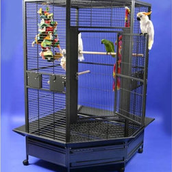 A and E Cage Co. - A and E Cage Co. Large Corner Bird Cage 14022 - 14022BLACK - Shop for Bird Cages and Stands from Hayneedle.com! The biggest problem with large bird species is their ability to bend cage bars. With the durably constructed Jasper Corner Bird Cage you'll have the solution. Framed with a high gauge metal that's five millimeters thick this cage will stand up to the abuse that large birds can dish out. This cage sits low to the ground and features four stainless steel feeder bowls. Customize your cage with a wide color selection; finishes are non-toxic and bird-safe. One-inch bar spacing ensures safety for your pets. The cage consists of two 40-inch wide back panels and three 22-inch wide front panels. Additional features include:2 removable seed trays at top and bottom Complete set of seed catchers Hard plastic castors Large main access doorThe durability of the Jasper Corner Bird Cage makes it a perfect choice for housing your bird community. Ideal for: Macaws Cockatoos Umbrella Cockatoos Triton Cockatoos Amazons Yellow Nape Amazons Eclectus Hyacinth Macaws Scarlet Macaws