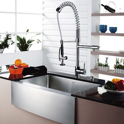 Kraus - Single Lever Pull Out Kitchen Mixer Chrome - Update the look of your kitchen with this multi-functional Kraus pull-out faucet. Kraus kitchen faucet blends quality and durability with elegance and style. Faucet is constructed from solid brass with stunning triple plated chrome finish. Solid brass body and commercial pull-down pre-rinse spray on spiral spring. Contains Sedal drip-free ceramic cartridge. Spring aerated flow powerful spray with integrated water hammer arrestor. Single-lever side mixer. Spring-tensioned retractable hose. Spout swivels 360-degrees. Hermetically sealed with adjustable temperature and flow rate limitation. Single-lever water and temperature control. Single-hole, top-mount installation. Water pressure tested for industry standard. Standard US plumbing connections. 2.2 GPM flow rate. Installation in a 1.375-inch hole. All mounting hardware and hot/cold waterlines are included. Faucet height (overall): 28.5 inches. Spout reach: 9.5 inches. Hose measures 28 inches long. 5 Years Limited Manufacturer WarrantyInstruction Manual