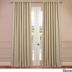 EFF - Extra Wide Thermal Blackout Grommet Top 84-inch Curtain Panel - You will instantly fall in love with these blackout curtains offered in a double-wide fit. Each panel is 100 inches wide,and the fabric is super soft with a refined texture made with a special polyester yarn.