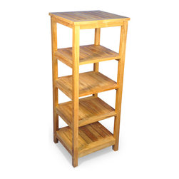 "Goldenteak - Solid Teak Square 5 tier shelf unit - Solid Teak 5 Tier shelf unit for unit in bath or elsewhere. 18"" X 19"" X 50""H. Top shelf clearance 10"". Other shelves 8.25"". Assembly required."